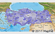 Political Shades Map of Turkey, satellite outside, bathymetry sea