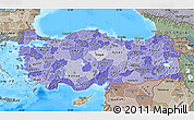 Political Shades Map of Turkey, semi-desaturated, land only
