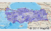 Political Shades Map of Turkey, shaded relief outside, bathymetry sea