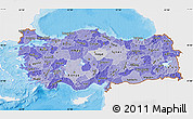 Political Shades Map of Turkey, single color outside