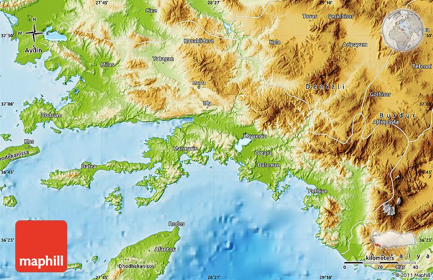 Physical Map of Mugla