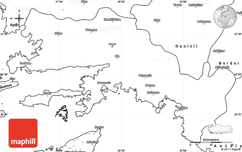 Blank Simple Map of Mugla