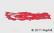 Flag Panoramic Map of Turkey