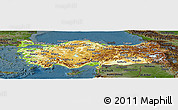 Physical Panoramic Map of Turkey, darken