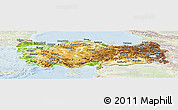 Physical Panoramic Map of Turkey, lighten