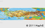 Physical Panoramic Map of Turkey, political outside, shaded relief sea