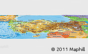 Physical Panoramic Map of Turkey, political shades outside, shaded relief sea