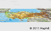 Physical Panoramic Map of Turkey, semi-desaturated, land only