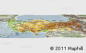 Physical Panoramic Map of Turkey, semi-desaturated