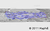 Political Shades Panoramic Map of Turkey, desaturated