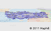 Political Shades Panoramic Map of Turkey, lighten