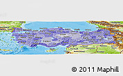 Political Shades Panoramic Map of Turkey, physical outside