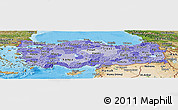 Political Shades Panoramic Map of Turkey, satellite outside, bathymetry sea