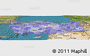 Political Shades Panoramic Map of Turkey, satellite outside