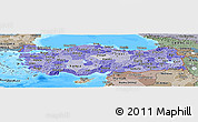 Political Shades Panoramic Map of Turkey, semi-desaturated, land only