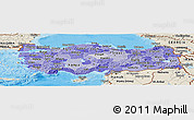 Political Shades Panoramic Map of Turkey, shaded relief outside, bathymetry sea