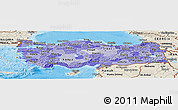 Political Shades Panoramic Map of Turkey, shaded relief outside