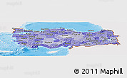 Political Shades Panoramic Map of Turkey, single color outside, shaded relief sea