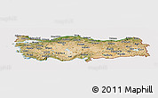 Satellite Panoramic Map of Turkey, cropped outside