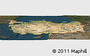 Satellite Panoramic Map of Turkey, darken