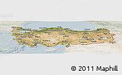 Satellite Panoramic Map of Turkey, lighten
