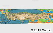 Satellite Panoramic Map of Turkey, political outside, satellite sea