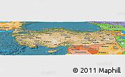 Satellite Panoramic Map of Turkey, political shades outside, satellite sea