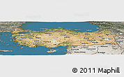Satellite Panoramic Map of Turkey, semi-desaturated, land only