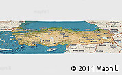 Satellite Panoramic Map of Turkey, shaded relief outside, satellite sea