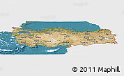 Satellite Panoramic Map of Turkey, single color outside