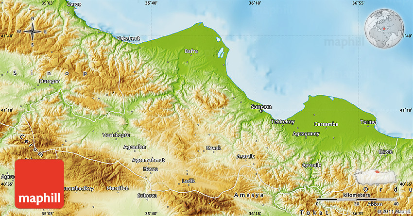 Physical Map of Samsun