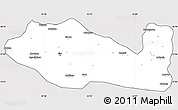 Silver Style Simple Map of Siirt, cropped outside