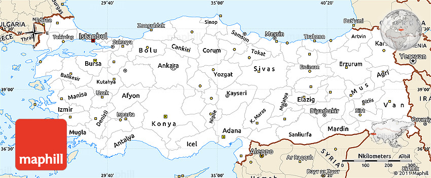 Classic Style Simple Map of Turkey