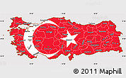 Flag Simple Map of Turkey, flag centered