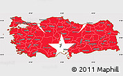 Flag Simple Map of Turkey, flag aligned to the middle