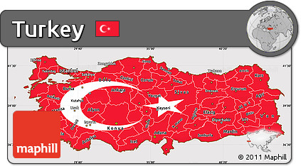 Flag Simple Map of Turkey