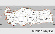 Gray Simple Map of Turkey, cropped outside