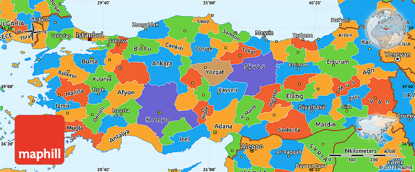 Political Simple Map Of Turkey - Turkey map