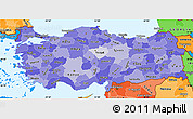 Political Shades Simple Map of Turkey