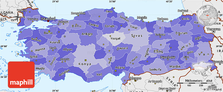 political shades simple map of turkey single color