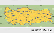 Savanna Style Simple Map of Turkey, cropped outside