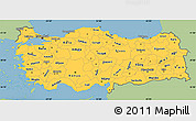 Savanna Style Simple Map of Turkey, single color outside