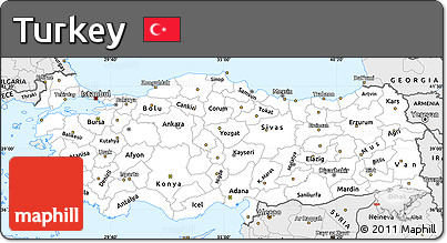 Silver Style Simple Map of Turkey