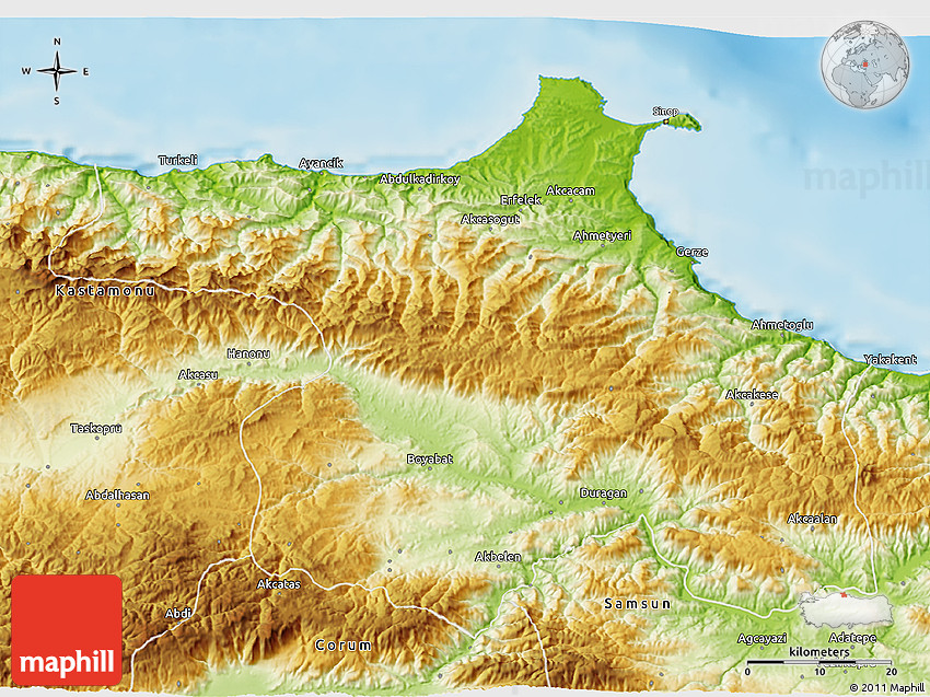 Physical 3D Map of Sinop