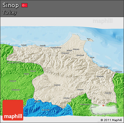 Free Shaded Relief 3D Map of Sinop political outside
