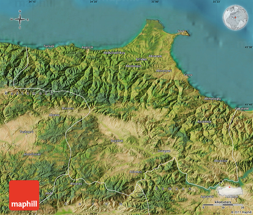 Satellite Map of Sinop