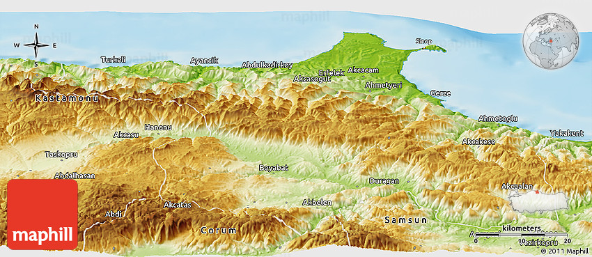 Physical Panoramic Map of Sinop