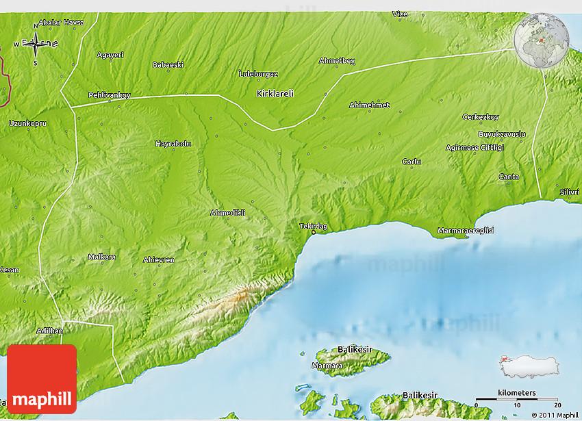 Physical 3D Map of Tekirdag CitiesTipscom