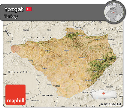 Free Satellite Map of Yozgat shaded relief outside