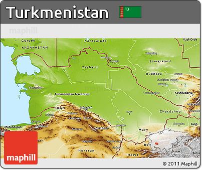 Free Physical D Map Of Turkmenistan - Turkmenistan physical map